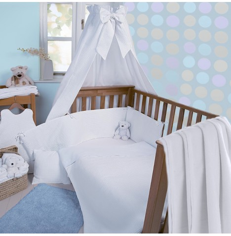 Clair De Lune Soft Waffle 3 Piece Cot / Cot Bed Bedding Bale - White