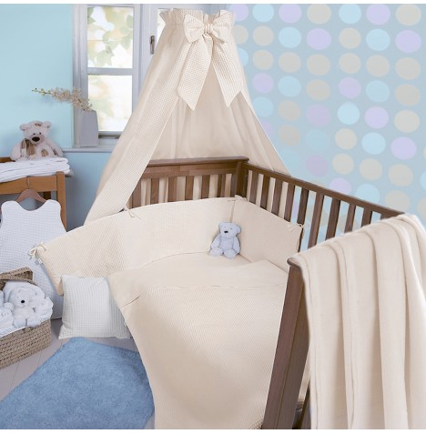 Clair De Lune Soft Waffle 3 Piece Cot / Cot Bed Bedding Bale - Cream