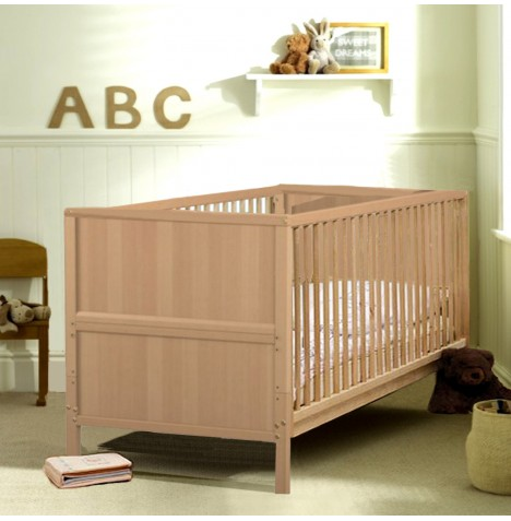 Jurababy Classic Cot Bed With Sprung Mattress - Natural Beech