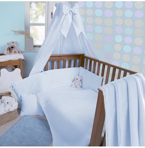 Clair De Lune Soft Waffle 3 Piece Cot / Cot Bed Bedding Bale - Blue