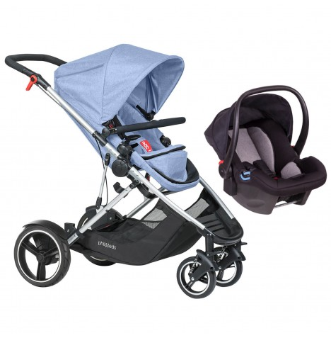 Phil & Teds Voyager Travel System - Blue Marl