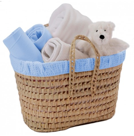 Clair De Lune Polly Waffle Nursery Basket - Blue