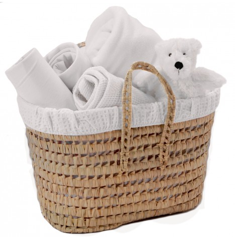 Clair De Lune Polly Waffle Nursery Basket - White