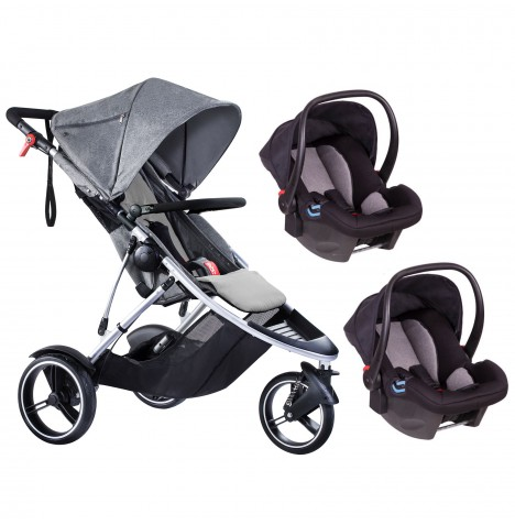 Phil & Teds Dash Double Travel System - Grey Marl