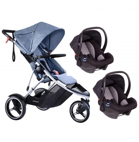 Phil & Teds Dash Double Travel System - Blue Marl