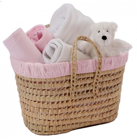 Clair De Lune Polly Waffle Nursery Basket - Pink