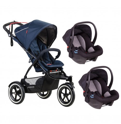 Phil & Teds Sport Autostop Double Travel System - Midnight Blue