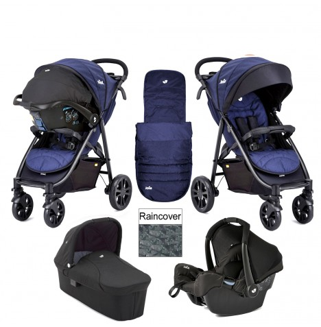 Joie Litetrax 4 Wheel Carrycot (Gemm) Travel System - Eclipse