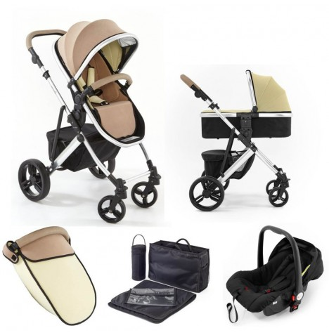 Tutti Bambini (Silver Chassis) 3in1 Riviera Plus Travel System - Taupe / Pistachio