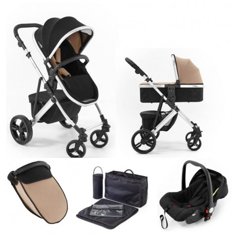 Tutti Bambini (Silver Chassis) 3in1 Riviera Plus Travel System - Black / Taupe