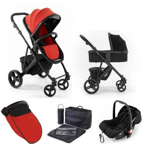 Tutti Bambini (Black Chassis) 3in1 Riviera Plus Travel System - Black / Coral Red