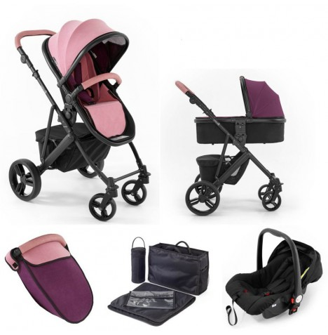 Tutti Bambini (Black Chassis) 3in1 Riviera Plus Travel System - Dusty Pink / Plum