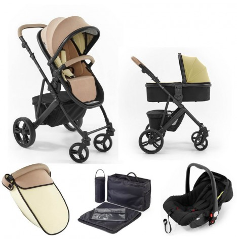 Tutti Bambini (Black Chassis) 3in1 Riviera Plus Travel System - Taupe / Pistachio