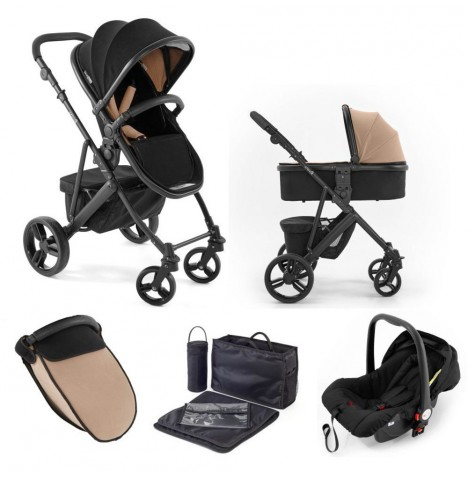 Tutti Bambini (Black Chassis) 3in1 Riviera Plus Travel System - Black / Taupe