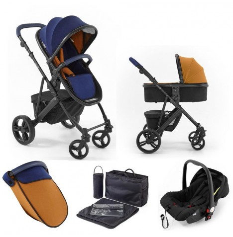 Tutti Bambini (Black Chassis) 3in1 Riviera Plus Travel System - Midnight Blue / Tan