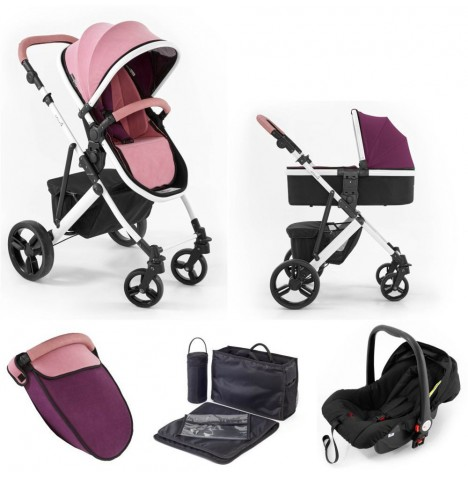 Tutti Bambini (White Chassis) 3in1 Riviera Plus Travel System - Dusty Pink / Plum