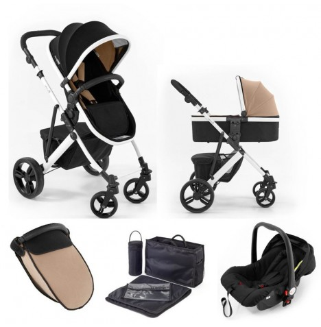 Tutti Bambini (White Chassis) 3in1 Riviera Plus Travel System - Black / Taupe