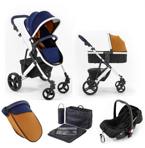 Tutti Bambini (White Chassis) 3in1 Riviera Plus Travel System - Midnight Blue / Tan