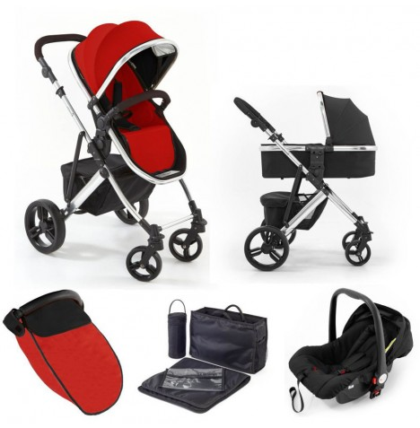Tutti Bambini (Chrome Chassis) 3in1 Riviera Plus Travel System - Black / Coral Red