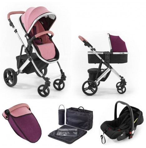 Tutti Bambini (Chrome Chassis) 3in1 Riviera Plus Travel System - Dusty Pink / Plum