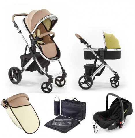 Tutti Bambini (Chrome Chassis) 3in1 Riviera Plus Travel System - Taupe / Pistachio