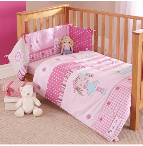 Clair De Lune My Dolly Pink Cot / Cotbed Quilt And Bumper Set
