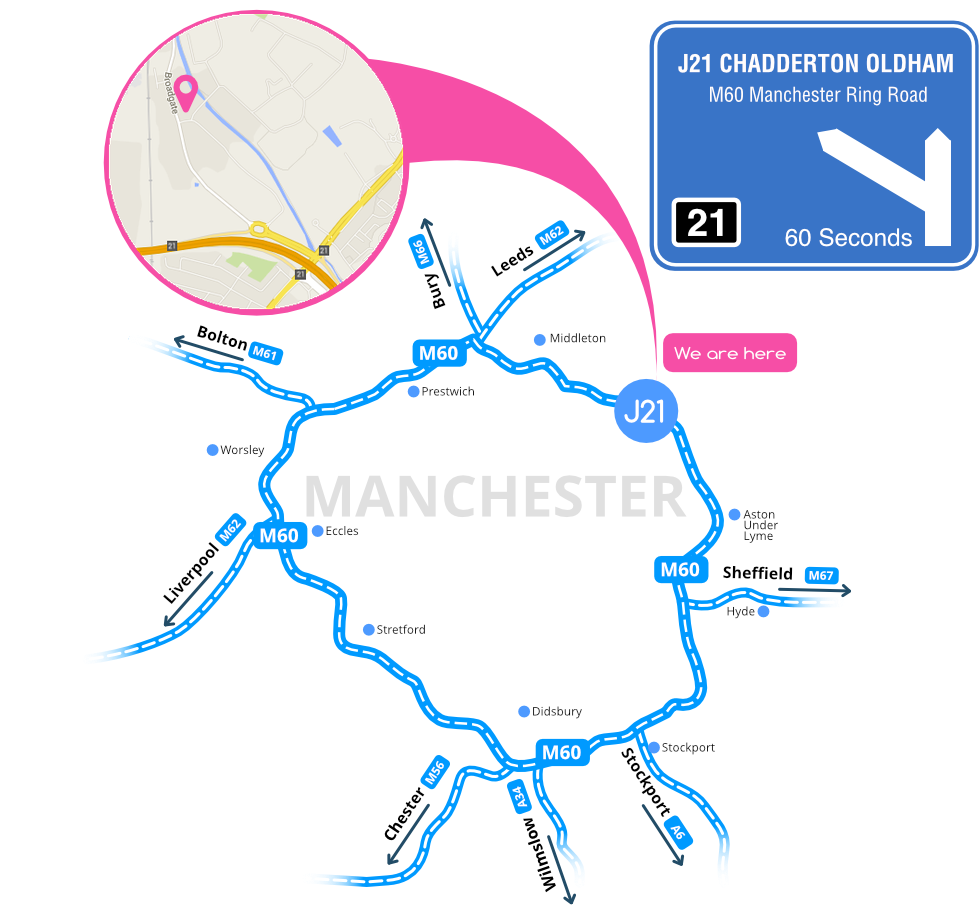 Map to Online4Baby showroom in Oldham