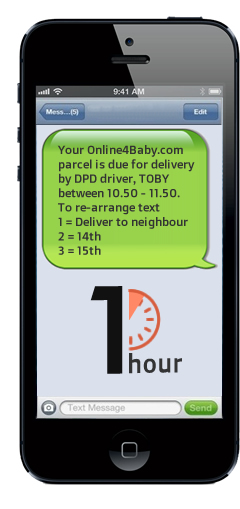 Recieve SMS notifications of your 1 hour DPD timeslot