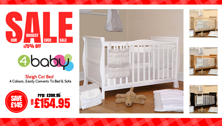Online4baby Biggest Ever Sale Baby Products - Sleigh Cot Bed