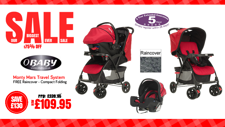 Online4baby Biggest Ever Baby Products Sale - oBaby Monty Mars Travel System On Sale