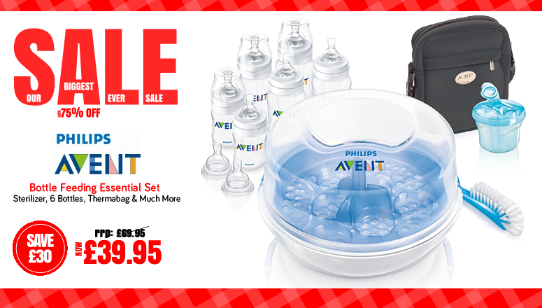 The Biggest Ever Sale at Online4baby.co.uk - Avent Bottle Feeding Essential Set on Sale