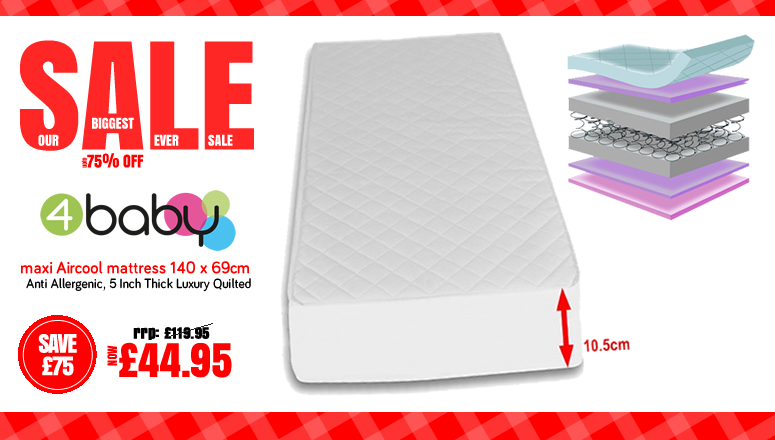 The Biggest Ever Sale - Online4Baby Sale - 4Baby Maxi Aircool Cot Mattress