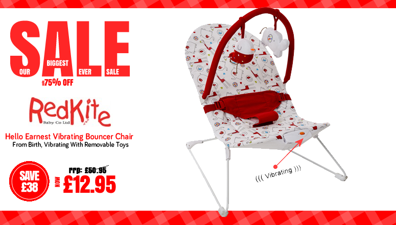 Online4Baby Biggest Ever Sale - Redkite Hello Earnest Vibrating Bouncer Chair on Sale