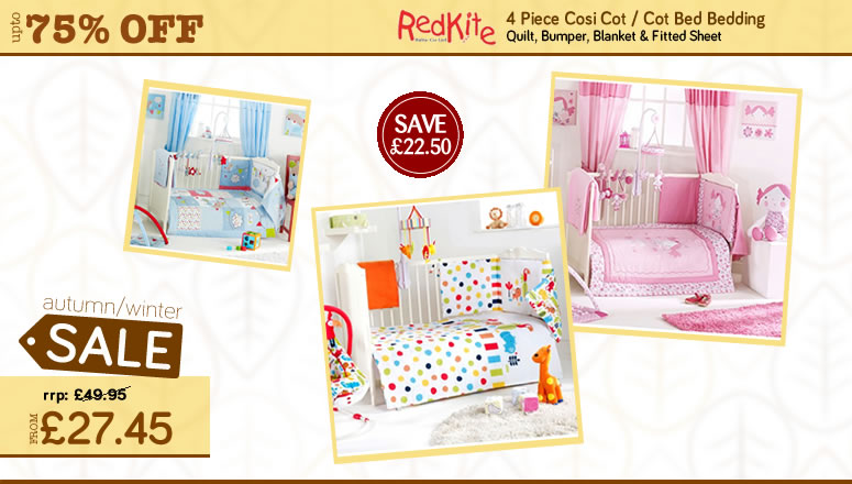 Online4Baby Massive Autumn Winter Sale - Red Kite 4 Pieve Cosi Cot / Cot Bed Bedding On Sale