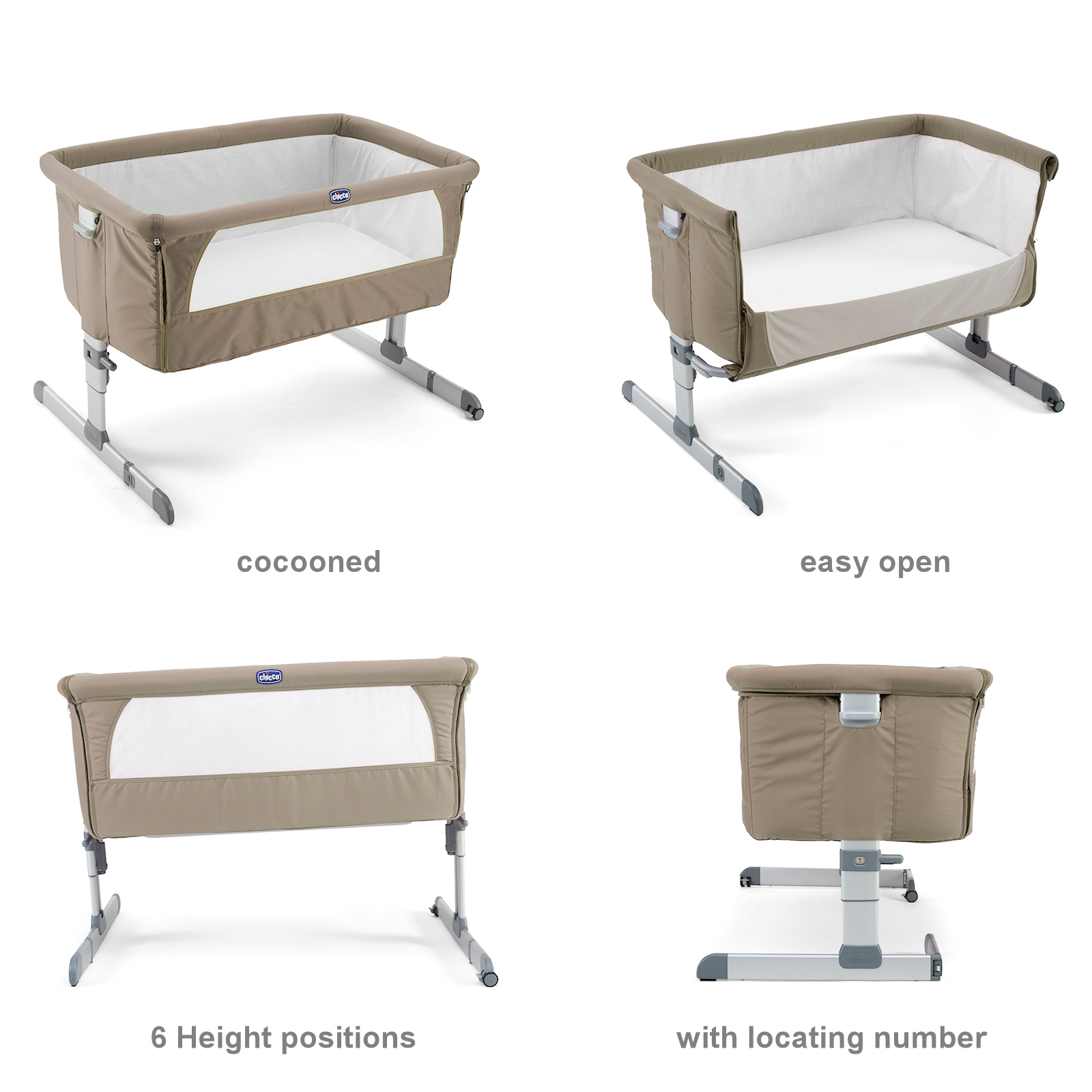 Chicco Dove Grey Next 2 Me Height Adjustable Baby Crib