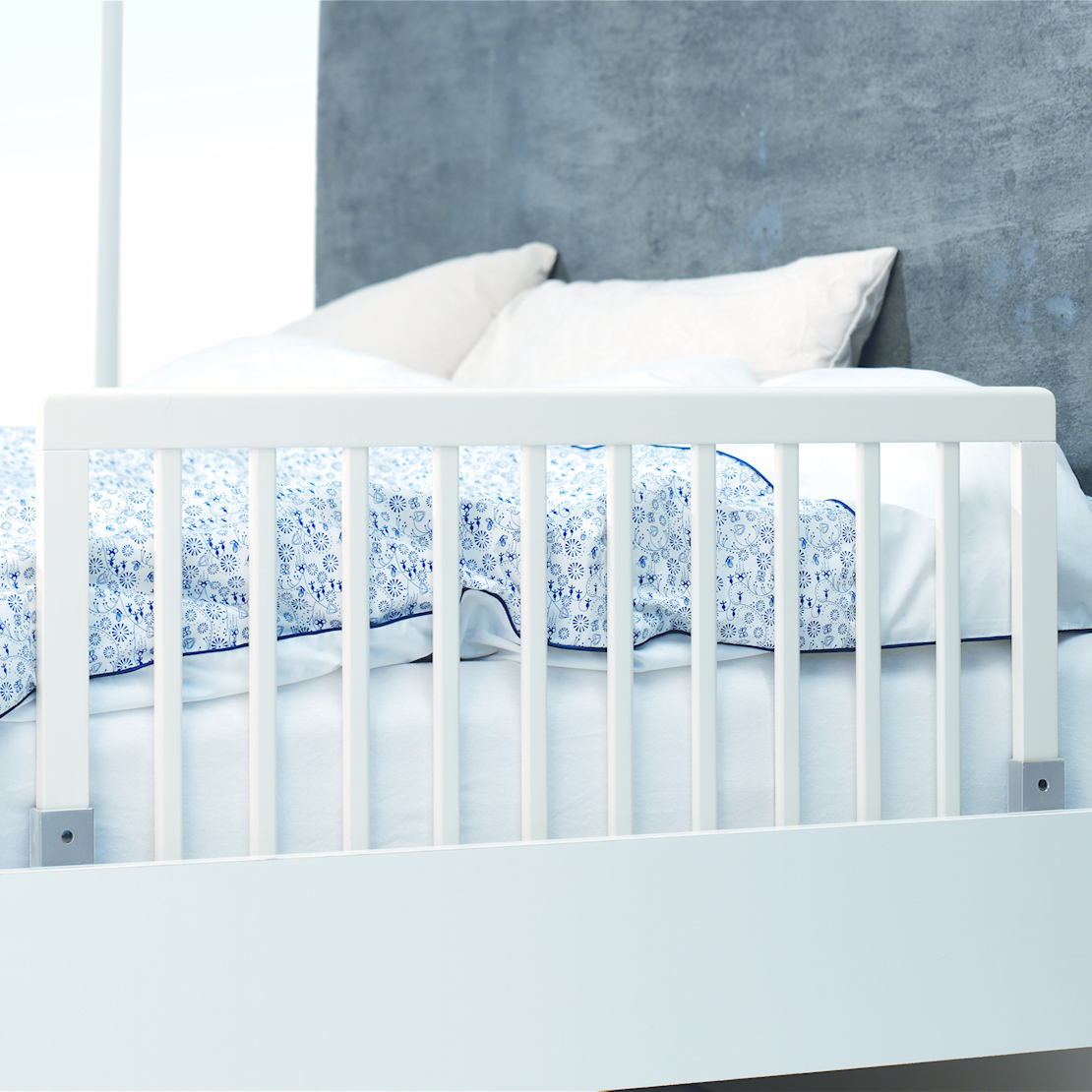 Very Impressive portraiture of  BABYDAN WHITE SAFETY WOODEN BED RAIL GUARD TO FIT JUNIOR & CHILDS BEDS with #355A96 color and 1110x1110 pixels