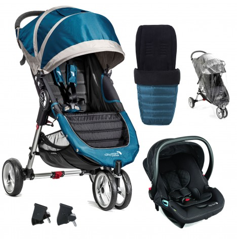 New Baby Jogger Teal City Mini Travel System With Footmuff