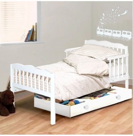 NEW 4BABY WHITE SARA JUNIOR TODDLER BED WITH FOAM MATTRESS