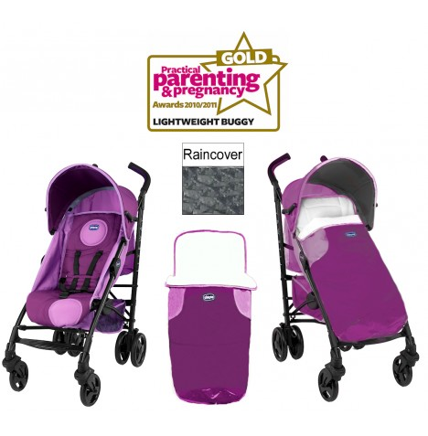 chicco fuchsia pink liteway stroller baby pushchair with raincover footmuff ebay. Black Bedroom Furniture Sets. Home Design Ideas