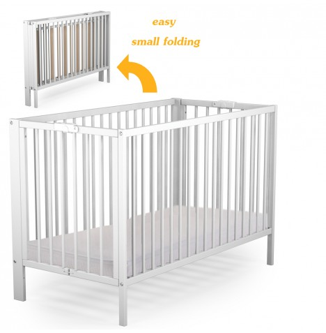NEW 4BABY WHITE SOLID WOOD LAUREN FOLDING BABY COT & FIBRE ...