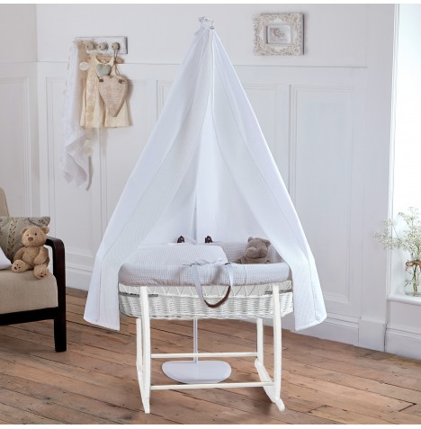 New clair de lune white waffle white wicker moses basket for Drape stand for crib