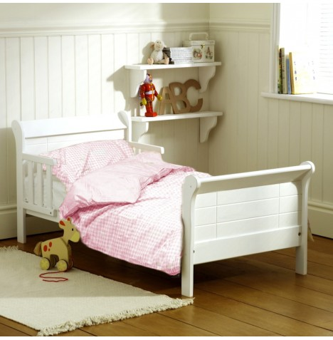 Saplings White Poppy Junior Bed with Deluxe Foam Mattress & 4pc Pink Gingham Bedding