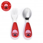 Skip Hop Zoo Mealtime Utensils (Fork & Spoon) - Lady Bug