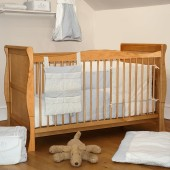 4Baby 3 in 1 Sleigh Cot Bed With Fibre Mattress - Country Pine