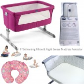 Chicco Deluxe Next 2 Me Crib with Nursing Pillow & Mattress Protector - Fuchsia