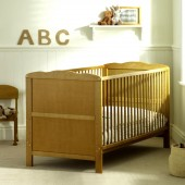 4Baby Classic Cot Bed With Fibre Mattress - Country Pine