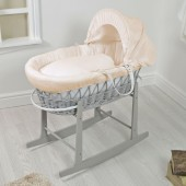 4Baby Padded Grey Wicker Moses Basket & Rocking Stand - Cream Waffle