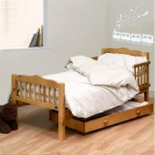4Baby Sara Junior Toddler Bed With Foam Mattress - Country Pine