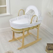 4baby Palm Moses Basket & Rocking Stand - Dimple White
