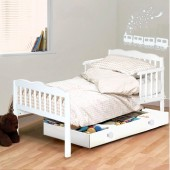 4Baby Luxury Sara Junior Toddler Bed With Foam Mattress - White